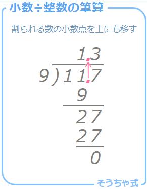 小学4年生で学習する小数÷整数(あまりなし)の筆算の方法。割られる数の小数点を上にも移動させるのがコツ。