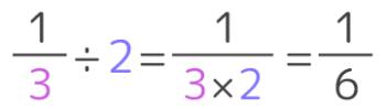 分数÷整数の計算方法を図解したもの